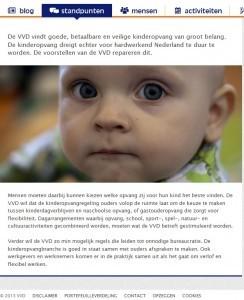 Screenshot website VVD op 4-9-2013